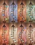 DEMMEX - 7 Big Globes Turkish Moroccan Mosaic Floor Lamp Light, Bohemian Boho Tiffany Mosaic Floor Lamp with North American Plug & Socket, 55' (Customize)