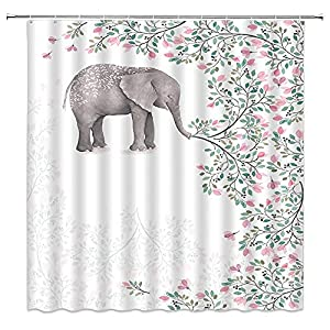 Elephant Shower Curtain Decor Pink Flower Green Leaves Plant Creative Animal Decorative Bathroom Curtain Polyester Fabric Machine Washable with Hooks 70x70 Inches