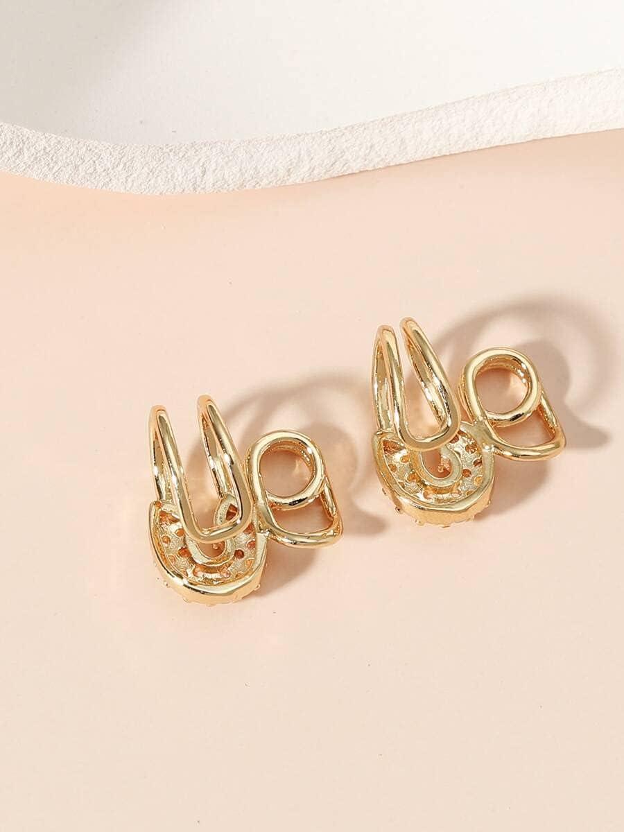 Hoop Earrings 1pair Zircon Decor Ear Cuff (Color : Gold)