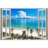 Taladro redondo 5D pintura de diamantes artesanías ambientales bordado completo de diamantes'ventana paisaje marino' decoración del hogar A10 30x40cm