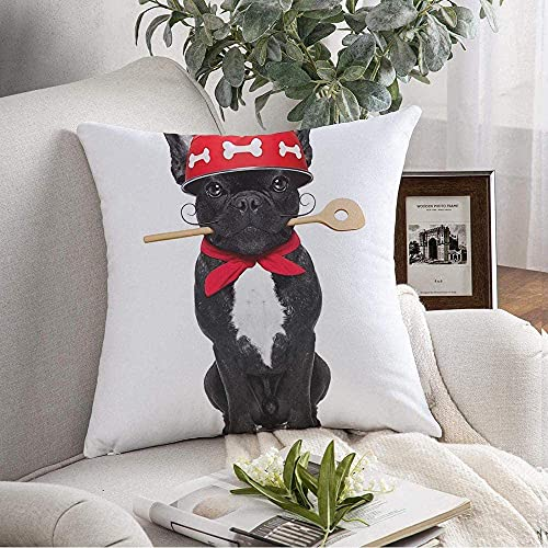 Funda de Almohada Cozy French Broma Bulldog Perro Chef Cocinero Menú Lindo Cocina Animales Canino Vida Silvestre Comida Plato Delicioso Bebida Cojín Funda de cojín para sofá Decoración del hogar, 16