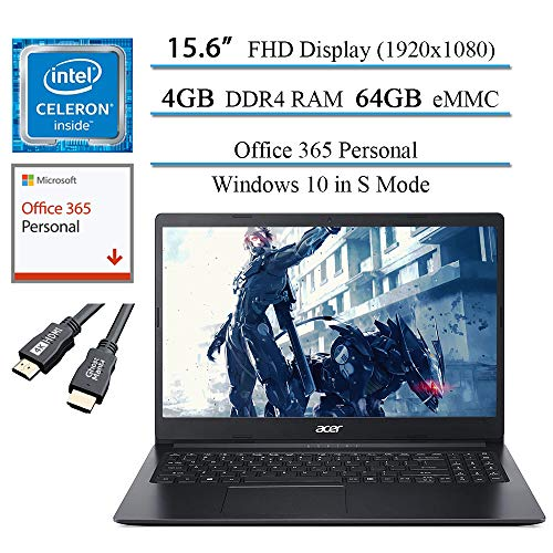 """Newest Acer Aspire 1 15.6"""" FHD Laptop for Business and Student, Intel Celeron N4020(Up to 2.8 GHz), 4GB RAM, 64GB eMMC, Up to 10-Hours Battery Life, Microsoft 365 Personal, Win10 w/GM 4K HDMI Cable"""