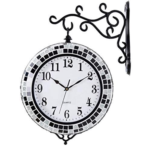 YALI YL Wohnzimmer GroßE Moderne Minimalistische Zweiseitige Uhr, Wohnaccessoires Doppelseitige Wanduhr Precision