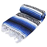 Andrew James Authentic Mexican Blankets - Traditional Handmade Woven Throw Blanket - Perfect for Yoga, Beach, Home Decor, Camping, (Blue Waters)