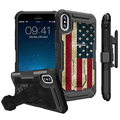 Untouchble Case for Apple iPhone X [TACTICAL ARMOR] iPhone 10 Shockproof iPhone X Kickstand Case with Rugger Holster Swivel Clip and Built in Kickstand - Vintage American Flag