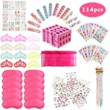 Spa Party Supplies for Girls with 114PCS Multiple Kids Spa Party Favors 12 Bags 12 Body Jewels 6 Colored Hair Clip Braids 12 Tattoos 12 Pink Spa Eye Masks 24 Toe Separators 12 Emery Boards 12 Crown Hair Fringe Stickers 12 Girls Nail Decal Sets for Birthday Gifts For Girl Kids Party Favors