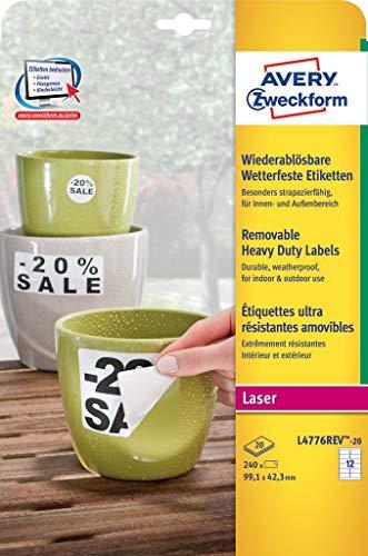 AVERY Zweckform L4776REV-20 Wetterfeste Folien-Etiketten, wiederablösbar (99,1x42,3 mm auf DIN A4, selbstklebend, bedruckbare Outdoor Klebefolie) 240 Aufkleber auf 20 Blatt weiß