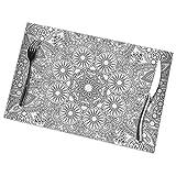 FJAR8 - Set di 6 tovagliette rotonde, motivo geometrico vettoriale, stile vintage, resistenti al calore, lavabile, per tavolo da pranzo, cucina, 30 x 45 cm