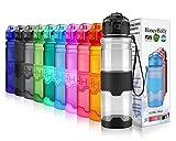 HoneyHolly Botella de Agua Deporte 400ml/500ml/700ml/1l, sin bpa tritan plastico, Reutilizables a Prueba de Fugas Botellas Potable con Filtro para niños, Colegio, Sport, Gimnasio, Trekking, Bicicleta