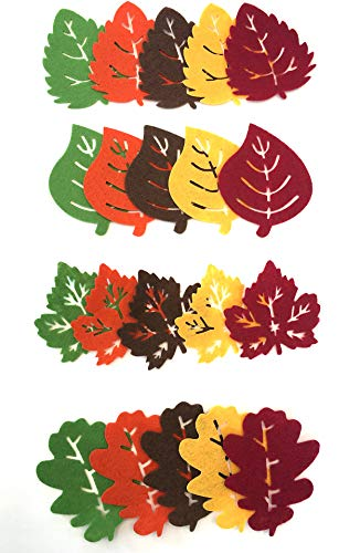 Felt Leaves 20 Count Assorted Leaf Shapes