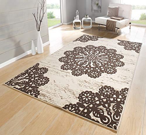 Teppiche für Wohnzimmer - Teppich Beige Schwarz Braun Grün Creme Rot , Kurzflor Teppich Modern , Teppichboden mit Design Muster Marokkanisch ÖKOTEX 160x230 cm Groß (Braun)