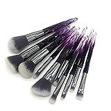 Fácil de usar Herramientas de belleza cosmética de calidad profesional 10Makeup Brush Foundation Brush Powder Pink Blush Brush Sombra de ojos Brush High Gloss Silhouette Brush Set-Blackwhite