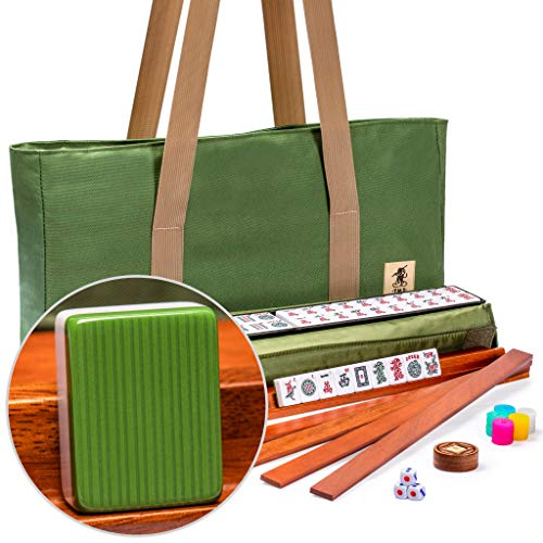 Yellow Mountain Imports American Mahjong Set, Huntington with Olive Green Soft Case - 4 All-in-One Racks with Pushers, Dice, & Wright Patterson Scoring Coins