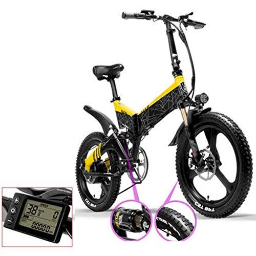 LPsweet Folding Elektro-Bike, Mit 48V10AH Lithium 400W Aluminium Rahmen Licht Folding Stadt Fahrrad Für Erwachsene Reisen Freizeit Fitness Camping,60km