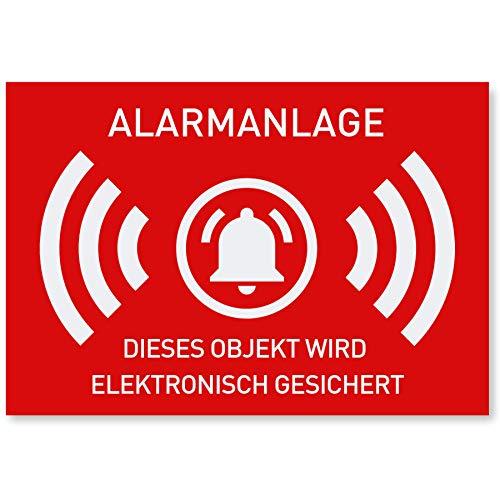 12 x Aufkleber Alarmgesichert (Klein - 7,4 x 5,2cm) - Schutz vor Einbruch in Auto und Wohnmobil - Aussenklebend - Alarm Sticker für mehr Sicherheit - Alarmanlage Aufkleber für außen - Geschlitzt