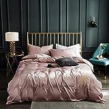 juegos de sábanas 160x200 verano,Lavar las hojas de seda de Tweet se colocaron en una cama de cuatro piezas de cama de color sólido simple-mi_1,5 m de cama (4 piezas) (20 series de 200 * 230)