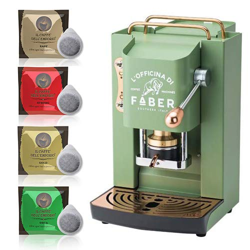Macchina caffè a Cialde ese Filtro Carta 44mm Faber Pro Deluxe Verde con Rifiniture in Ottone con 50 cialde Omaggio Emporio del caffè