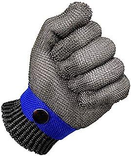 TOOGOO Blu Sicurezza Tagliare Prova pugnalata Resistente Acciaio inossidabile Maglia macellaio Guanto alto Prestazione Livello 5 Protezione Dimensione S