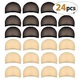 24 piezas Gorros de Peluca para Hombre y Mujer, Redecillas Casquillo de Peluca de Nylon Elástico y Delgada, un tamaño para todos (12 piezas beige natural+12 piezas negro)