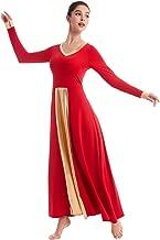 OwlFay Women Metallic V-Neck Praise Dance Dresses Liturgical Loose Fit Full Length Color Block Gown Ballet Worship Dancewear