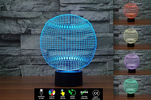 3D Baseball Illusion Lamp, LED Night Light with USB Power Cord and Wall Adapter