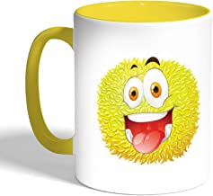 كوب قهوة مطبوع، لون اصفر، وحش ملون (سيراميك)