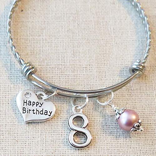8th BIRTHDAY Bracelet, 8th Birthday Charm Bracelet, 8 Year Old Daughter Birthday Gift Idea, Eighth Birthday Gift, 8 Year Old Birthday