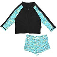 SwimZip Kid UPF 50+ Long Sleeve Rash Guard + Euro Shorties Set (Multiple Colors)