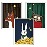 Close Up Kinderzimmer Poster Wald, 3er-Set (30 x 40 cm  