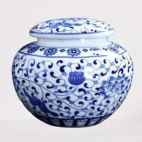 PZFC Dekorative Urnen Einäscherung Urn Asche Blaue und weiße Porzellan Lotus Trommel Keramik Asche Urna Urnen Asche Erwachsener Human Ashes Verfügbare Größen (Size : 13.5 * 15.5cm)