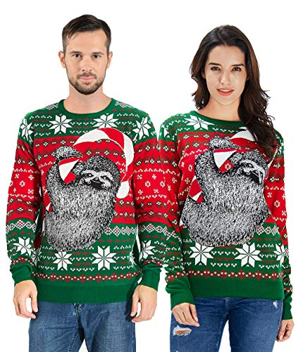 uideazone Unisex Sloth Christmas Sweater - Funny Cute Ugly Christmas Sweater
