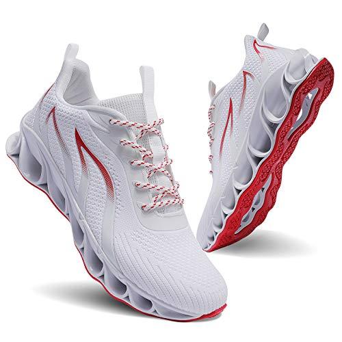 Men Athletic Shoes White Mesh Blade Running Walking Sneakers, 11.5