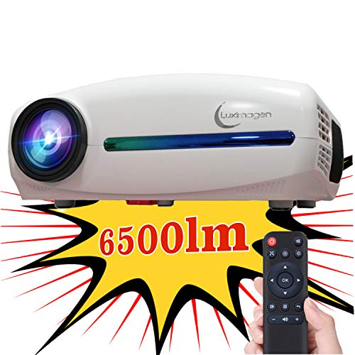 Luximagen FUHD200 (1920x1080) Proiettore Full HD 1080P 6.500 lumen LED Proiettore Massima Luminosità Portatile LED Home Cinema AC3 HDMI USB MKV Senza Input Lag Correzione Orizzontale (Bianco)