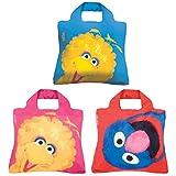 Envirosax Sesame Street Pouch, Set of 3 Reusable Shopping Bags, Big Bird & Grover