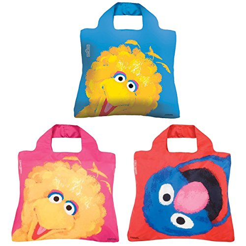 Envirosax Sesame Street Pouch, Set of 3 Reusable Shopping Bags, Big Bird & Grover