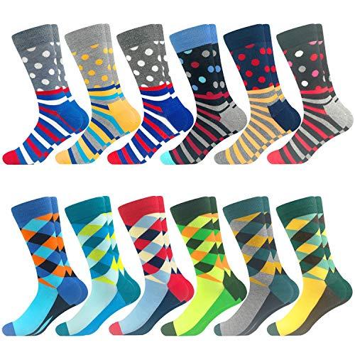 Bunte Crew-Socken, lustig, niedlich, verrückt, glücklich, gemustert, Baumwolle, Strumpf Packungen - - Einheitsgröße