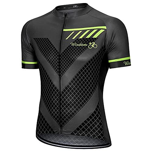 Men's Cycling Jerseys Short Sleeve Mountain Bike Shirts Tops Full Zip Pockets Moisture Wicking Grey