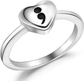 Stainless Steel Heart Shape Inspirational Mantra Smicolon Statement Cocktail Party Ring