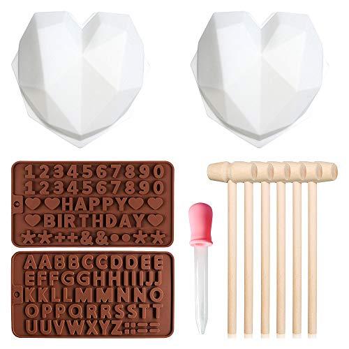 Gobesty Molde de chocolate con forma de corazón de diamante, molde de chocolate, con 6 mazos de madera y 2 moldes de carta, para mousse, tarta de queso, brownie, hielo (blanco y marrón)