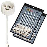 Portalámparas GU10 base para lámpara de cerámica con manguitos de cable. VDE RoHS 230-250 voltios 2A máx. 100W para lámparas halógenas y LED de ISOLATECH, aquí: 20 piezas