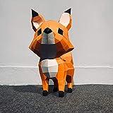 LHMYHJR Modelo De Papel 3D Origami Decoración De Pared Trofeo De Papel Decoración De Bricolaje 3D Fox Animal Geometría Papel Arte Figuras Artesanía Actividad