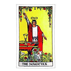 Tina Silvergray 36x60 Inches Vintage Style Colored Tarot Devination Theme Wall Hanging Tapestry (No. 1 - The Magician)