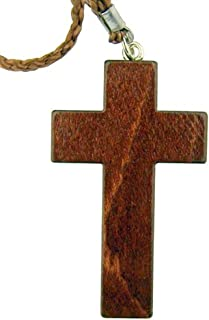Religious Gifts Mahogany Wood Christian Latin Cross on 30 Inch Rope Chain, 3 1/4 Inch