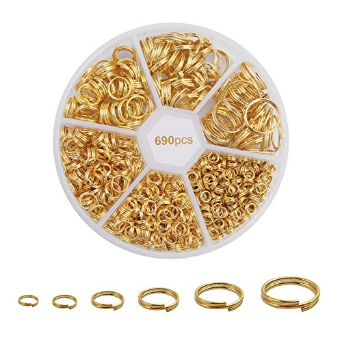 690pcs Gold Double Round Jump Rings with Small Storage Box, 4 5 6 8 10 12mm Double Split Rings Set, Open Loop Rings, Double Loop Jump Rings for Jewelry Making, Small Pendant Keychain DIY Tool