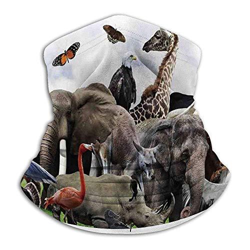 LAKILAN África,Collage Digital De Animales Salvajes con Safari Animal Zoo Theme Print Art,Blanco Gris Multiusos De Bandana,Paño De Manguera,Pañuelo para La Cabeza,Polaina para Cuello