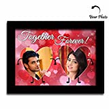 Huppme Wooden Personalized Together Forever Two Heart A4 Photo Frame