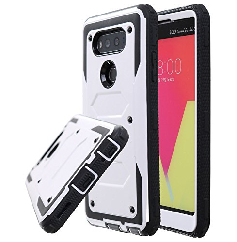 Guardful Rugged Tough [Dual Layer] Armor Overlay Case [Shockproof] Protective Hybrid Case for LG V20 (Bumper White)