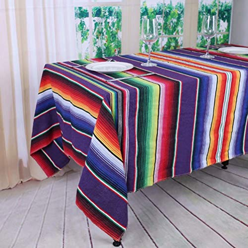YZEO New Purple Tischdecke 57 x 102-Zoll (145 x 260 cm) Mexikanischen Tisch, Lila Streifen Tischdecke, Mexikanischer Stil