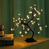 Lewondr Albero Bonsai, Bonsai in Fiore di Ciliegio in Ferro con 48 Luci LED, 3 Batterie Albero Decorazione Camera, Tavolo,scrivania, Soggiorno - Luce Calda
