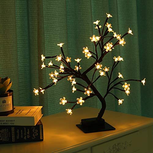 Lewondr LED Bonsai Tree Lights, 18-Inch Cherry Blossom Battery Powered 48 LED Bulbs Decorative Crystal Flower Night Light, Desk Tablet Top Living Room Bedroom Home Christmas Decoration - Warm Light